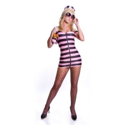 Sexy Prison Costume - Pink Stripes