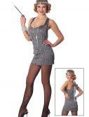 Sexy Silver Lindy Lace Flapper Costume