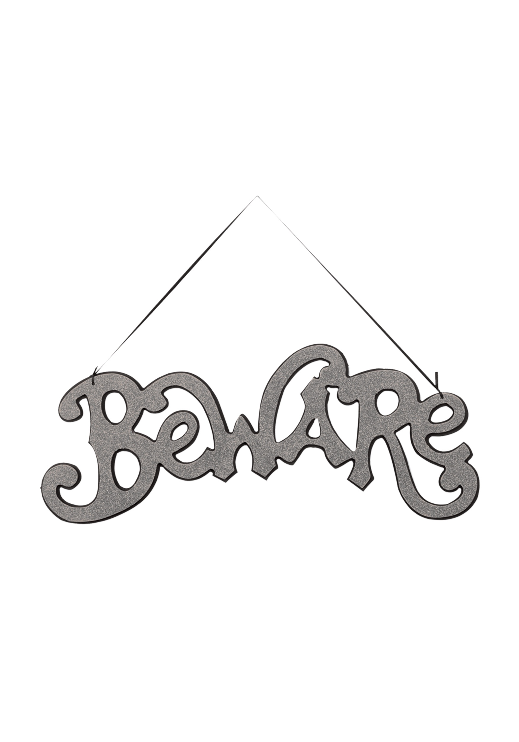 Silver Beware Cutout Sign