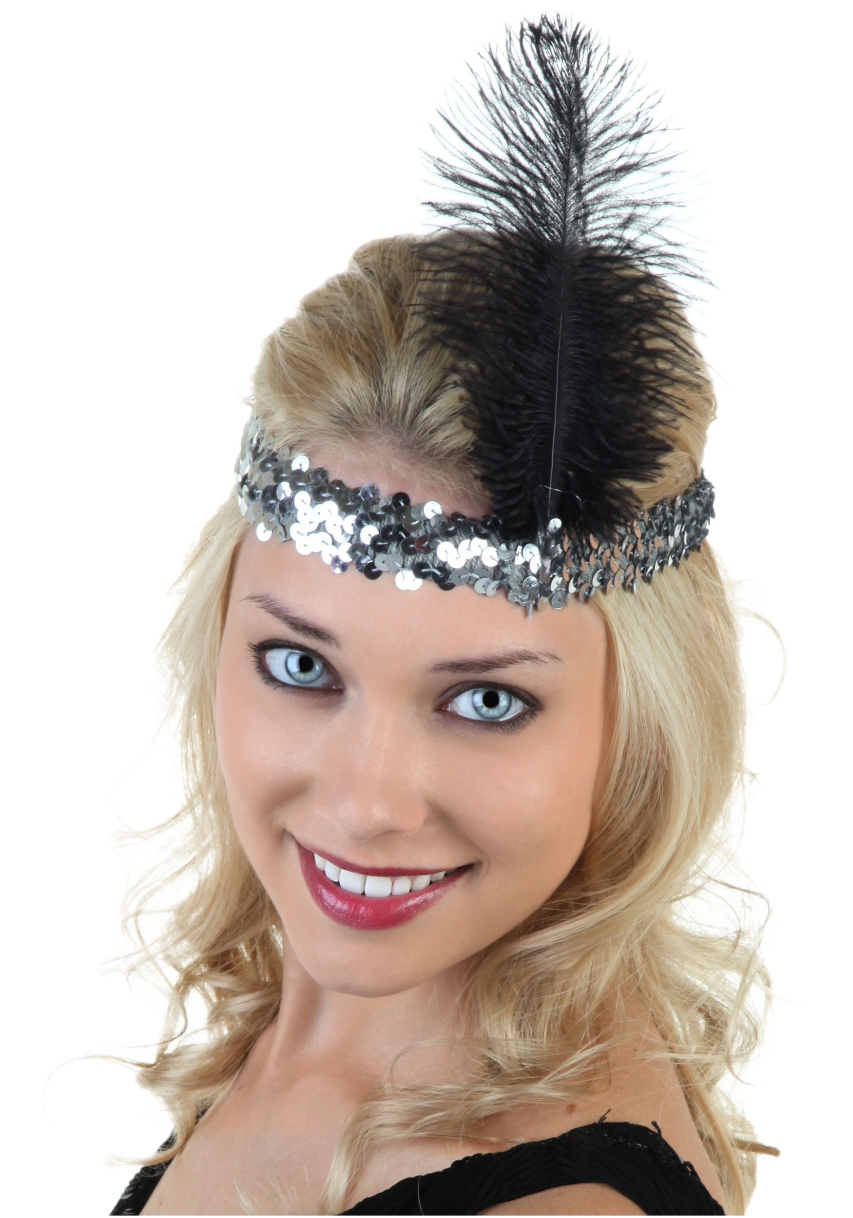 Silver and Black Flapper Headband