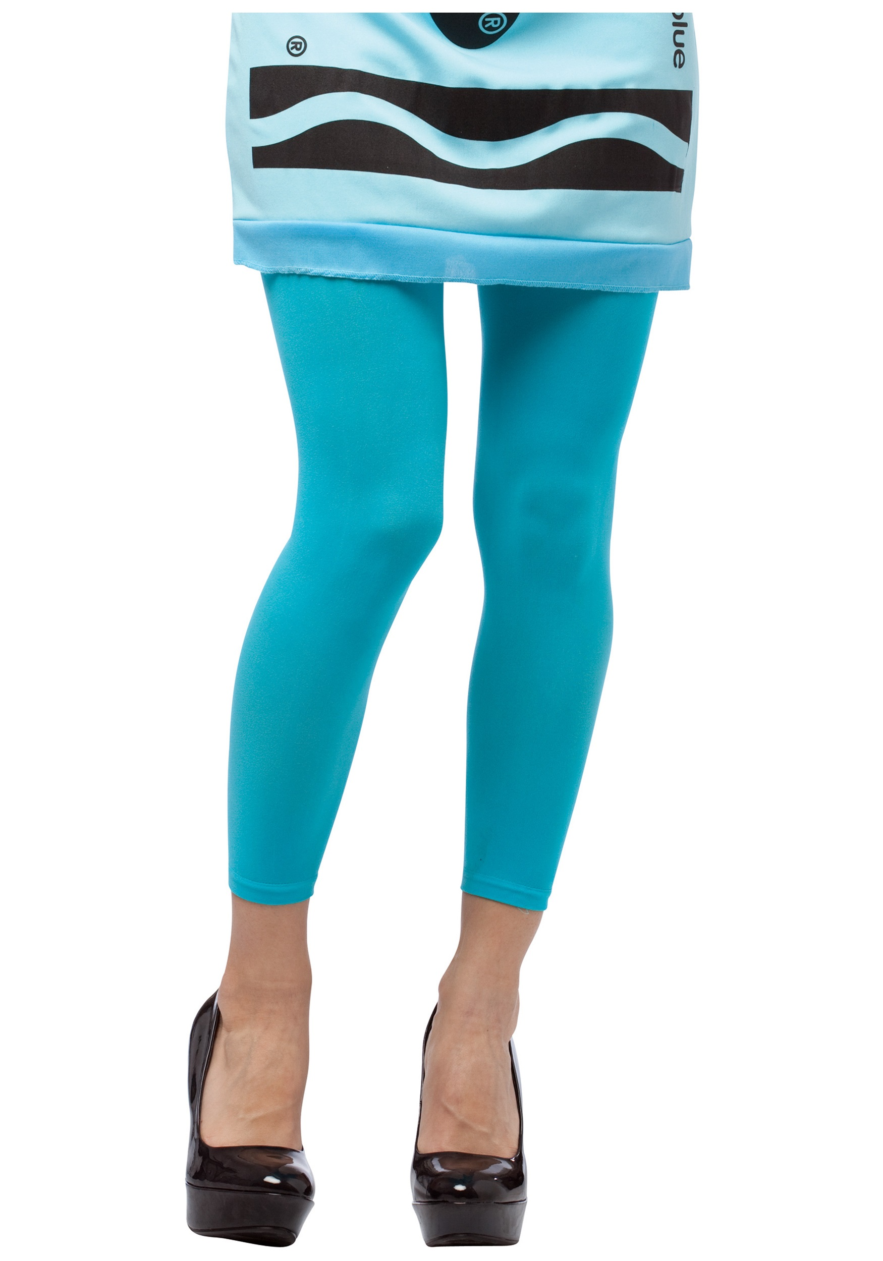 Sky Blue Crayon Footless Tights