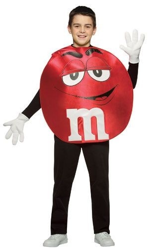 Teen Red M&M'S Character Poncho Costume
