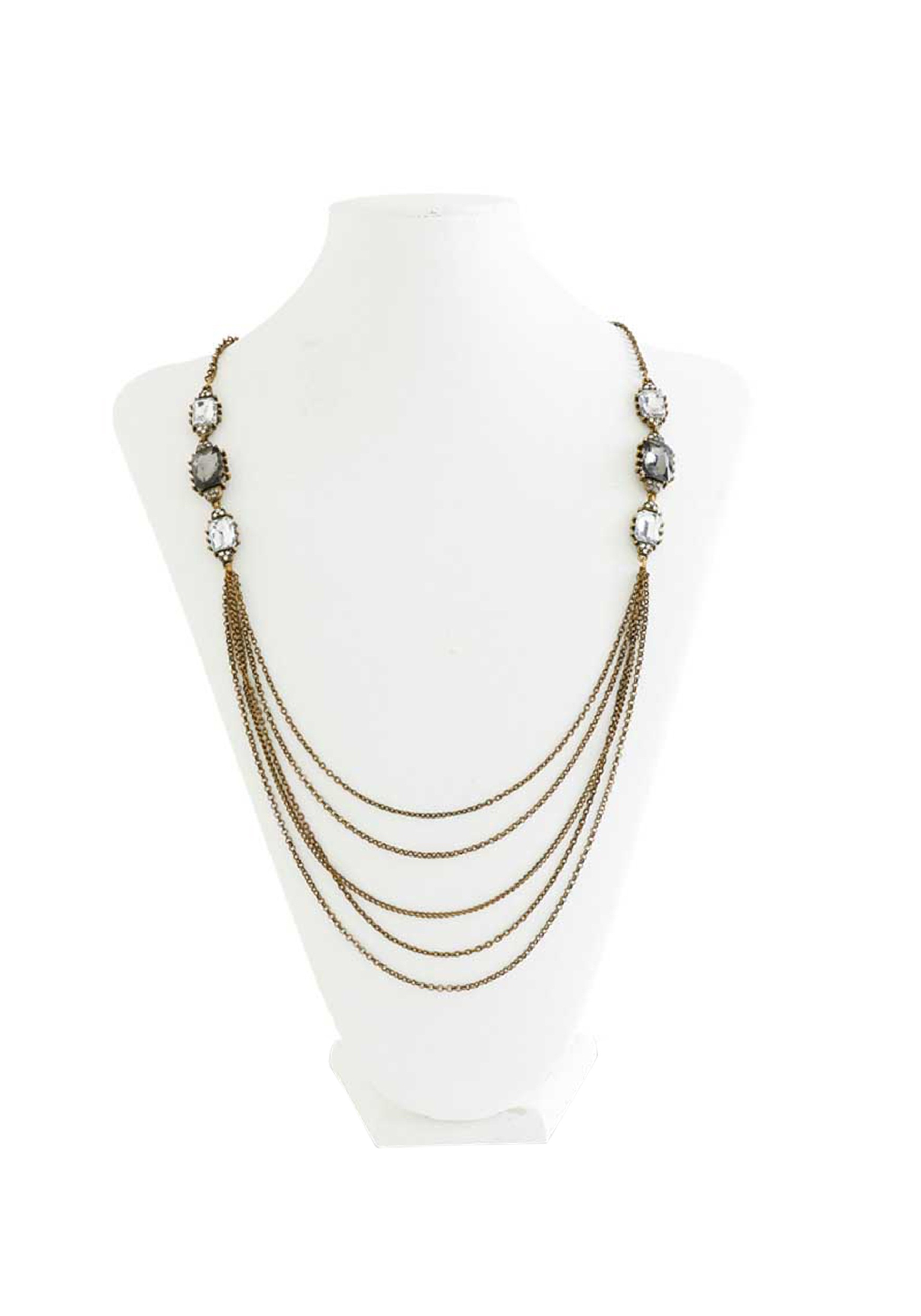 Vintage Brass Multi Chain Necklace