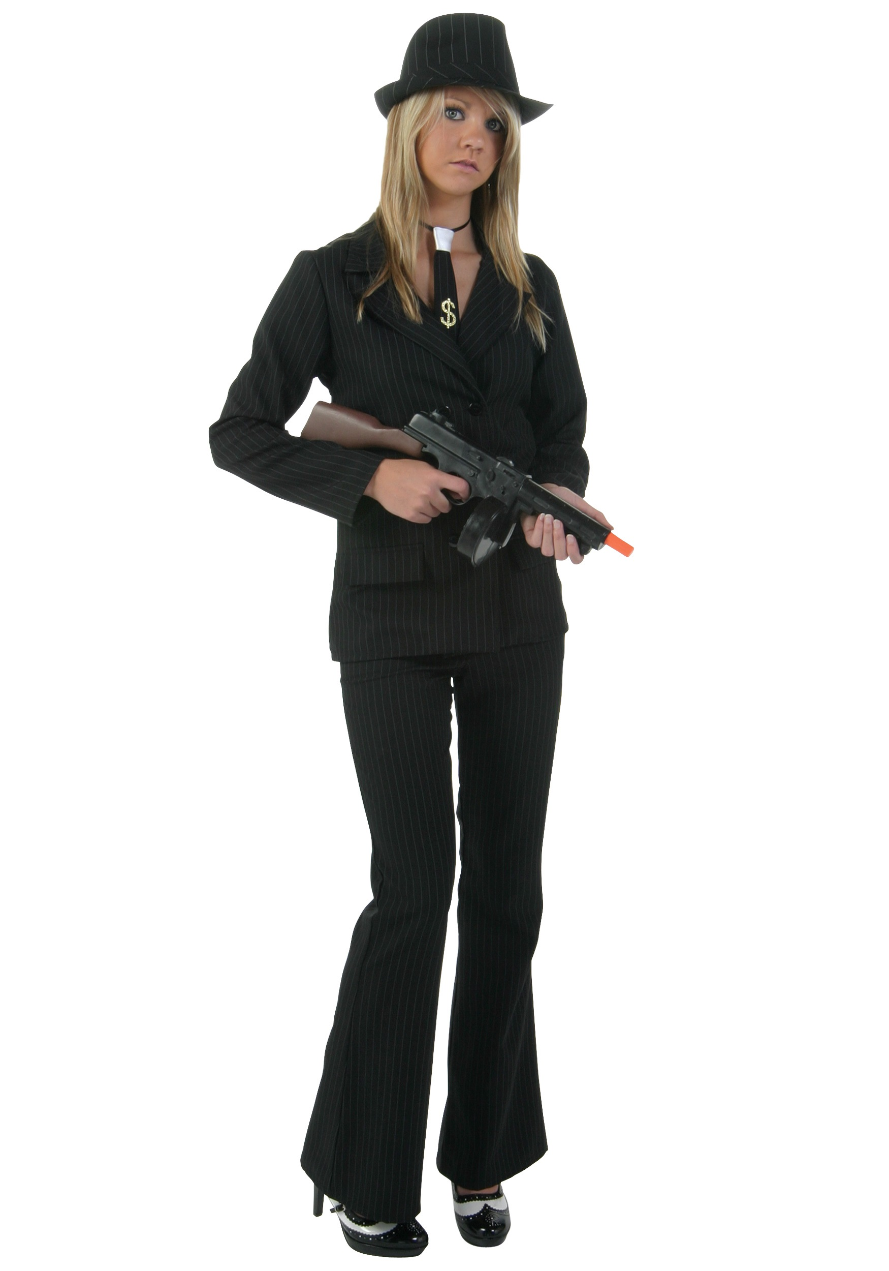 Women's Black Gangster Costume