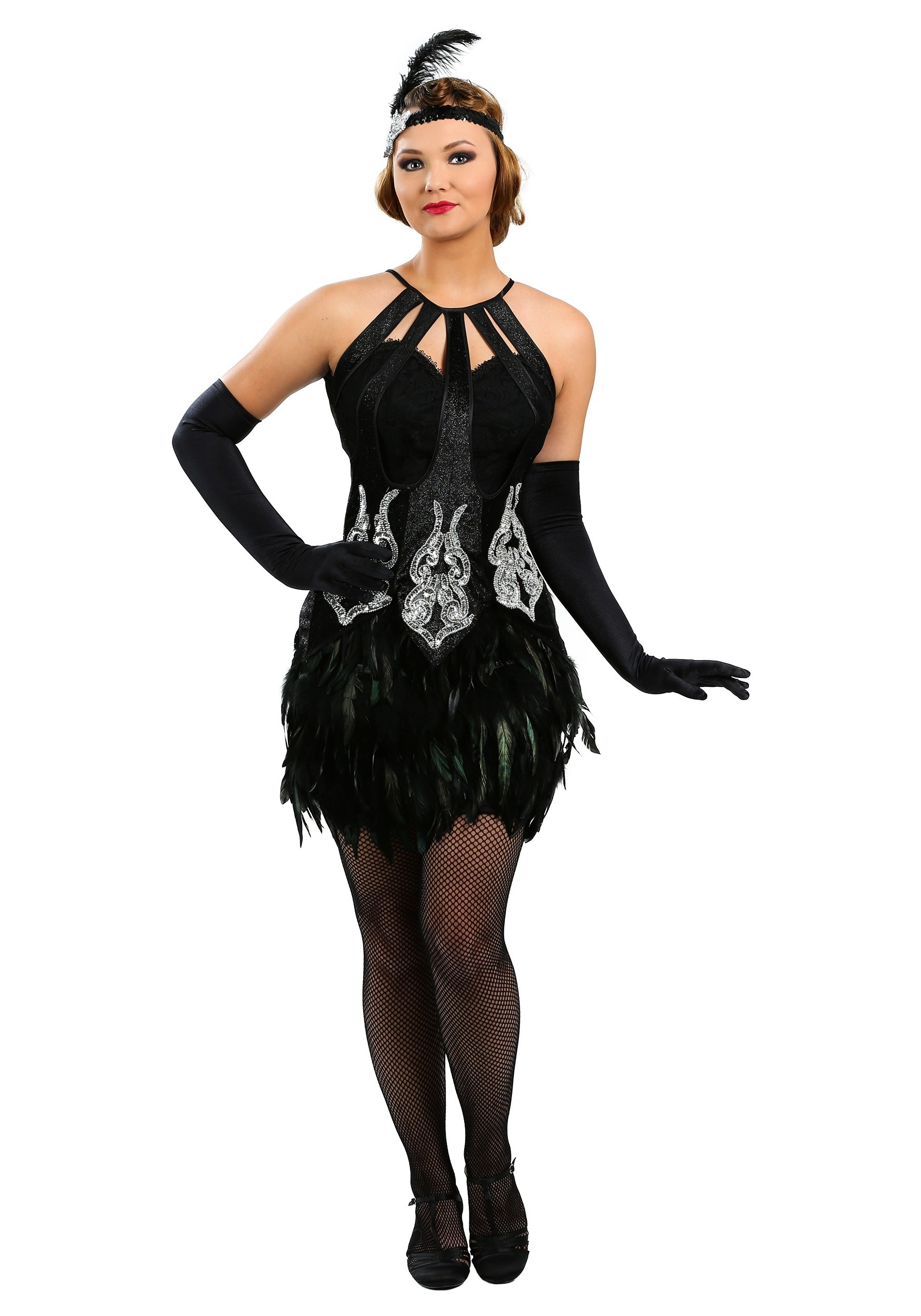 Women's Feathered Showgirl Costume