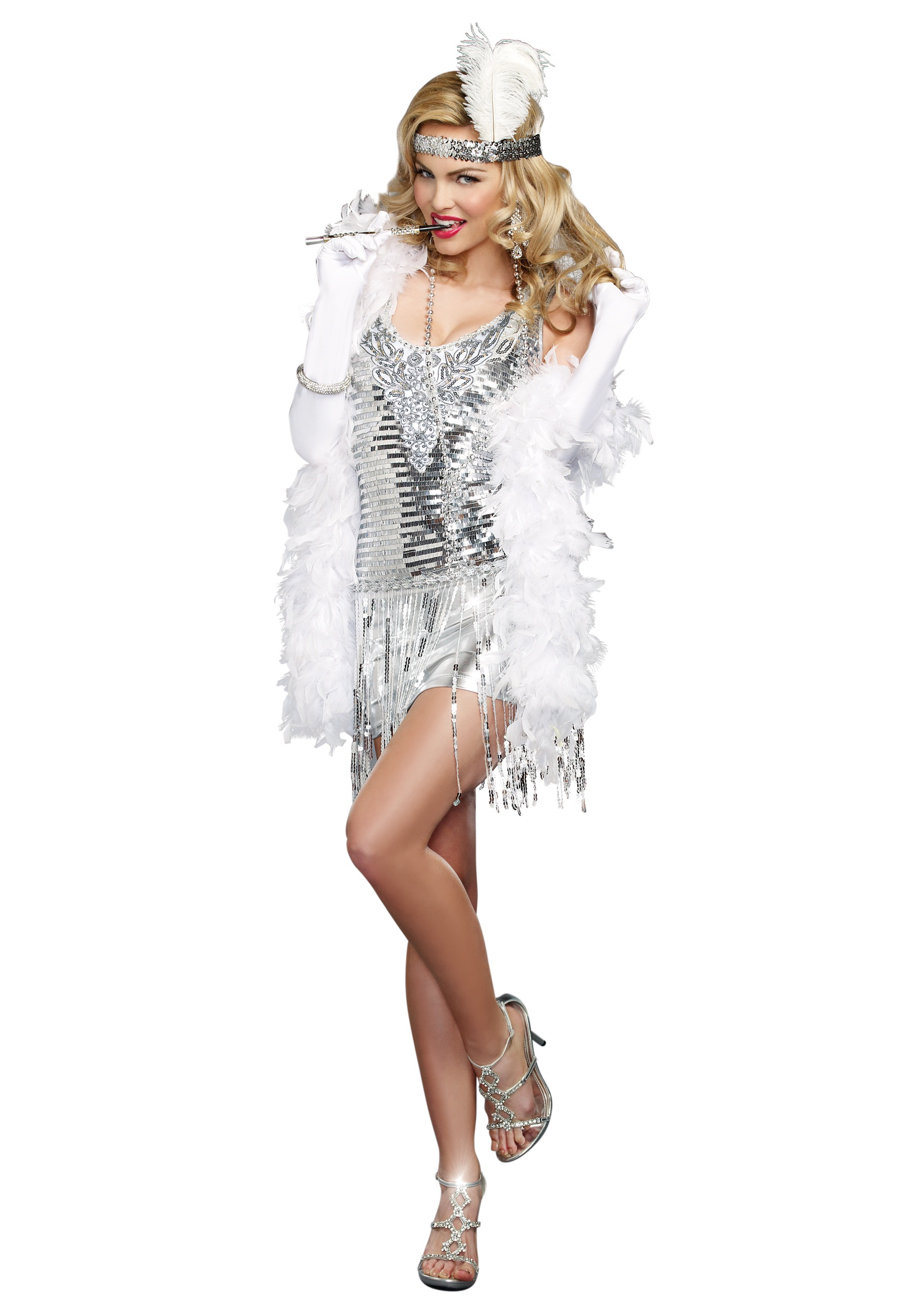 Women's Life of the Party Silver Flapper Costume